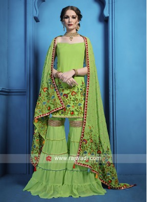 Georgette Embroidered Gharara Suit