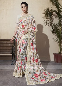Georgette Floral Print Saree
