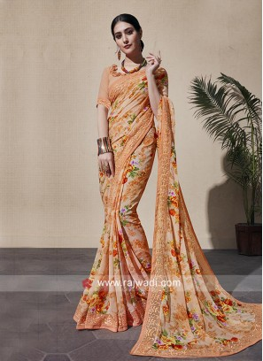 Georgette Flower Print Saree