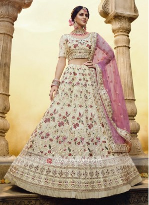 Georgette Lehenga Choli In Off White