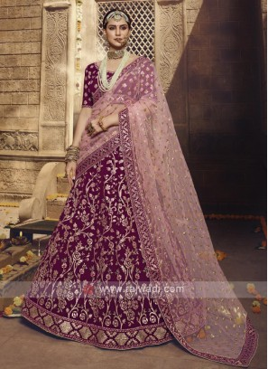 Georgette Lehenga Choli In Wine Color