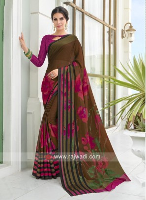 Georgette Office Wear Printed Saree
