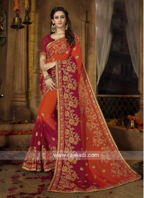 Georgette Orange and Red Shaded Saree