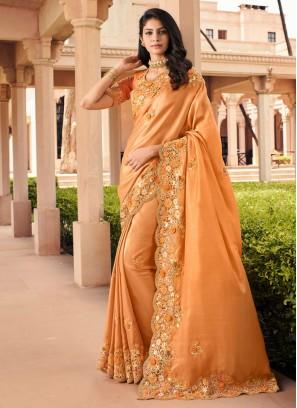 Georgette Orange Bollywood Saree
