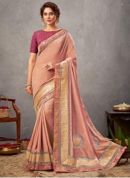 Georgette Patch Border Designer Saree in Pink