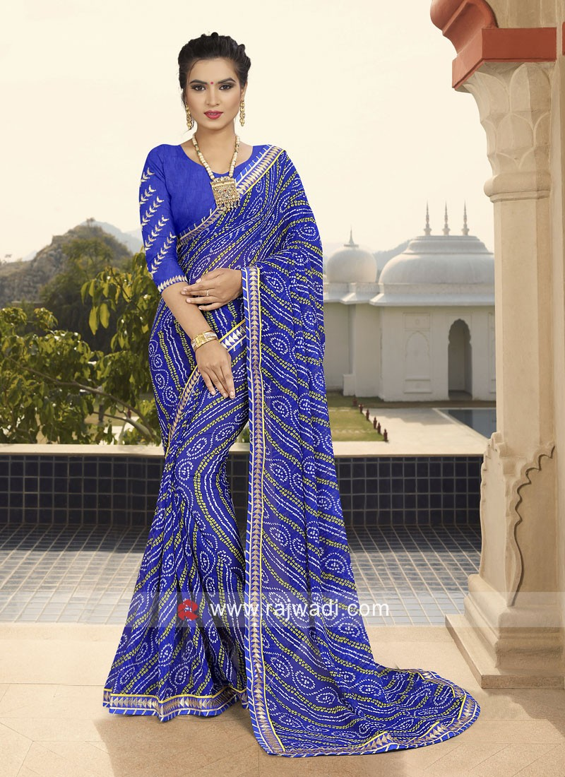 Georgette Printed Saree in Blue