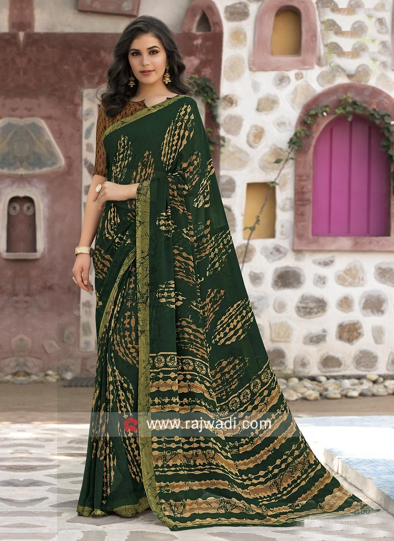 Georgette Printed Saree with Blouse