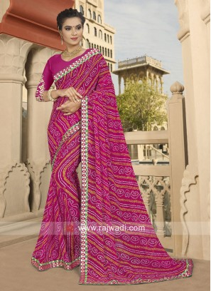 Georgette Printed Saree with Border