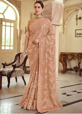 Georgette Satin Embroidered Designer Saree in Brown