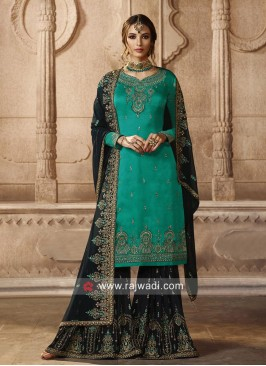 Georgette Satin Embroidered Eid Gharara Suit