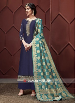 Georgette Satin Embroidered Palazzo Suit