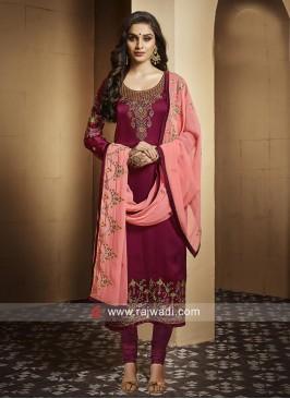 Georgette Satin Embroidered Salwar Suit