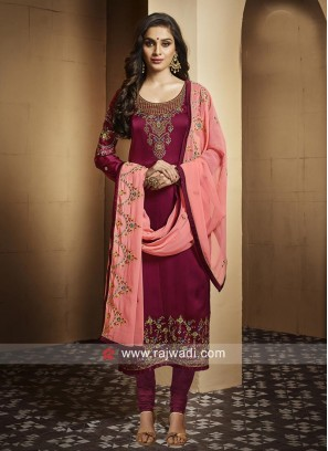 Georgette Satin Embroidered Salwar Suit