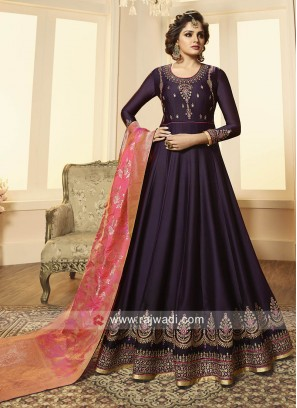 Georgette Satin Floor Length Anarkali Suit