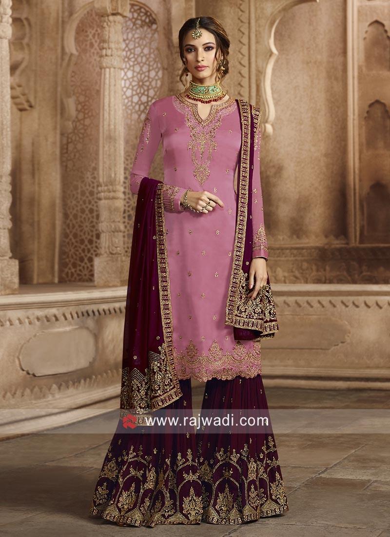 Georgette Satin Heavy Gharara Suit for Eid