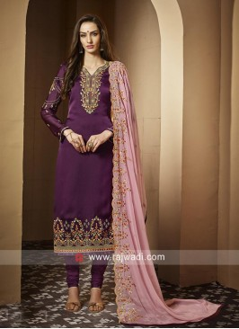 Georgette Satin Salwar Suit with Pink Dupatta