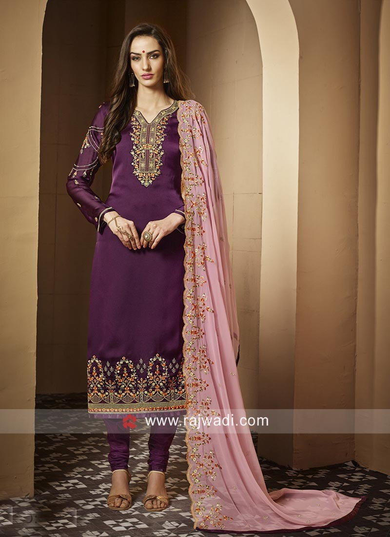 aeaf92340b Georgette Satin Salwar Suit with Pink Dupatta. Hover to zoom