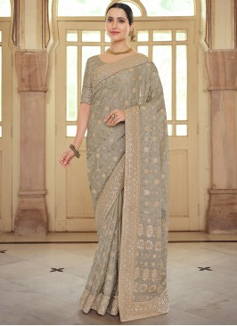 Georgette Satin Resham Bollywood Saree in Brown