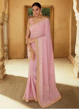 Georgette Sequins Pink Classic Saree