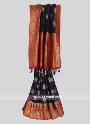 Georgette silk navy blue and red color saree