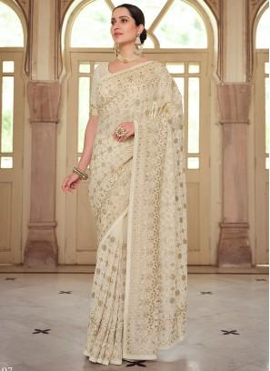 Georgette Trendy Saree in Off White