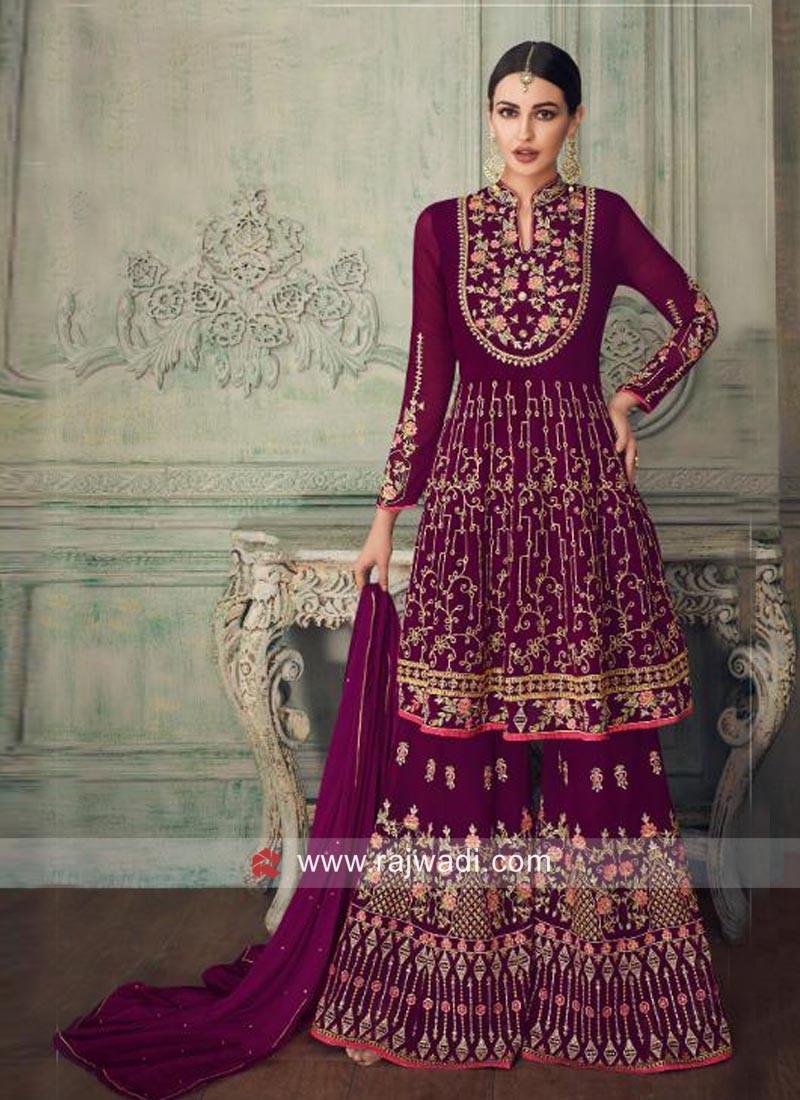 Georgette Wedding Gharara Suit
