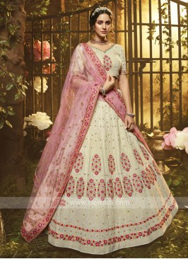 Georgette White Lehenga Choli