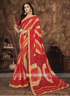 Georgette Work Red Saree