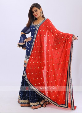 Gharara Suit In Royal Blue