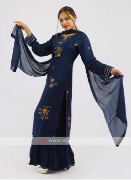 Gharara Suit In Blue