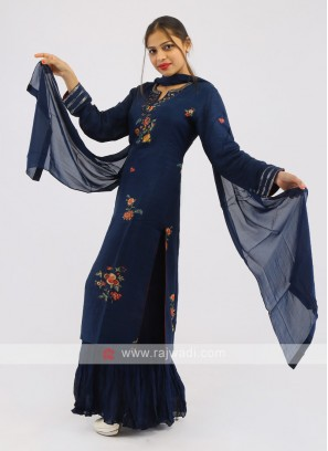Gharara Suit In Blue