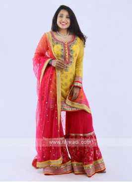 Gharara Suit In Yellow And Rani
