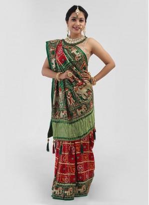 Gharchola For Bride In Gajji Silk With Bandhani Work Saree