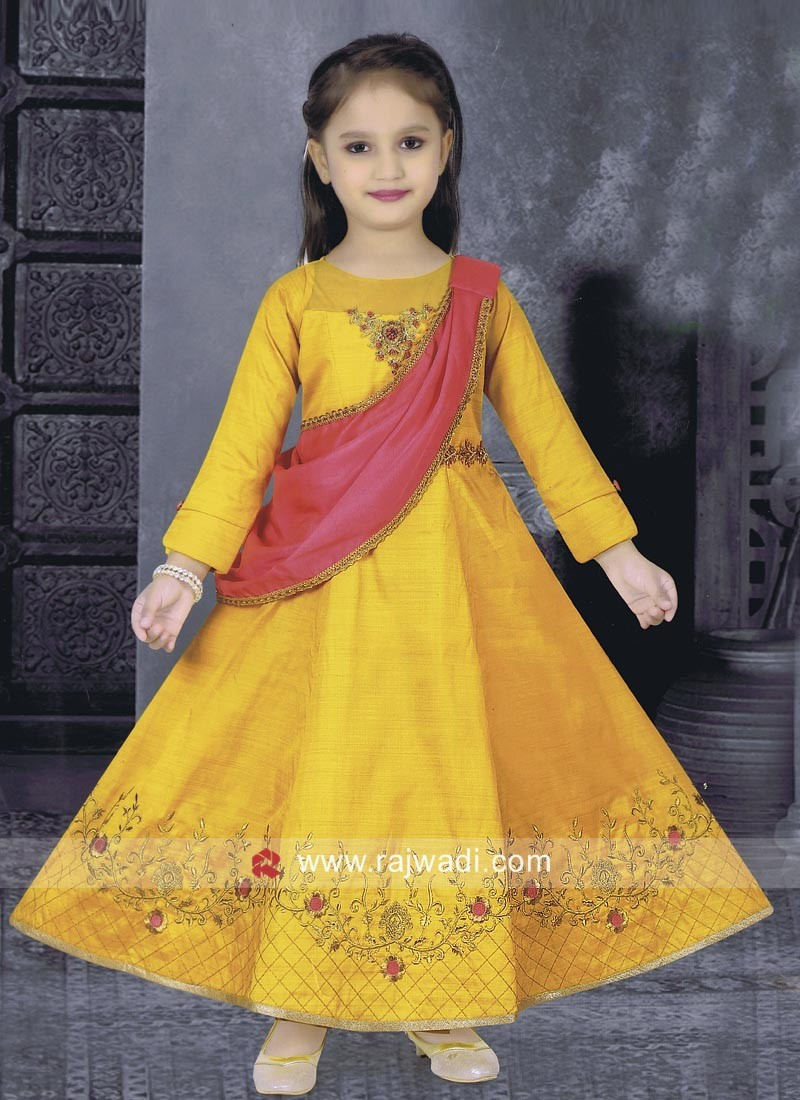 Girls Anarkali Suit with Golden Embroidery