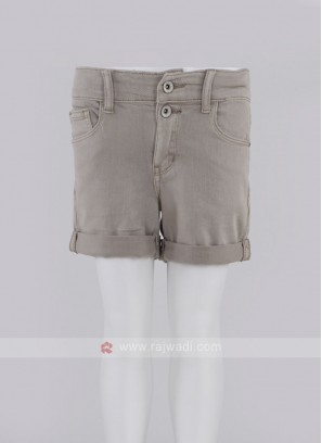 Girls Beige Solid Regular Fit Denim Shorts
