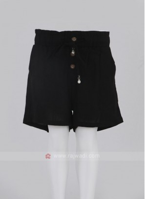 Girls Black Color Cotton Shorts