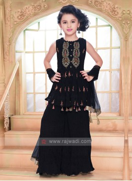 Girls Black Gharara Suit