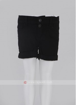 Girls Black Solid Regular Fit Denim Shorts