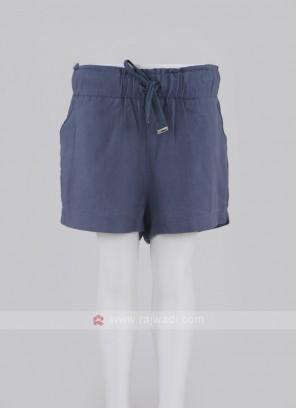 Girls Blue Color Cotton Shorts