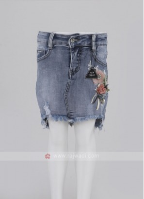 Girls Blue Denim Straight Skirt