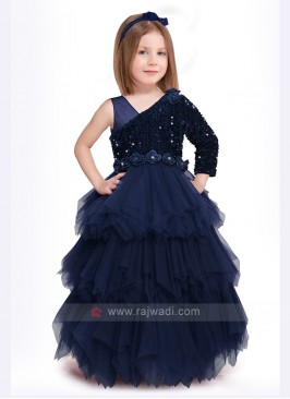 Girls Blue Net Gown