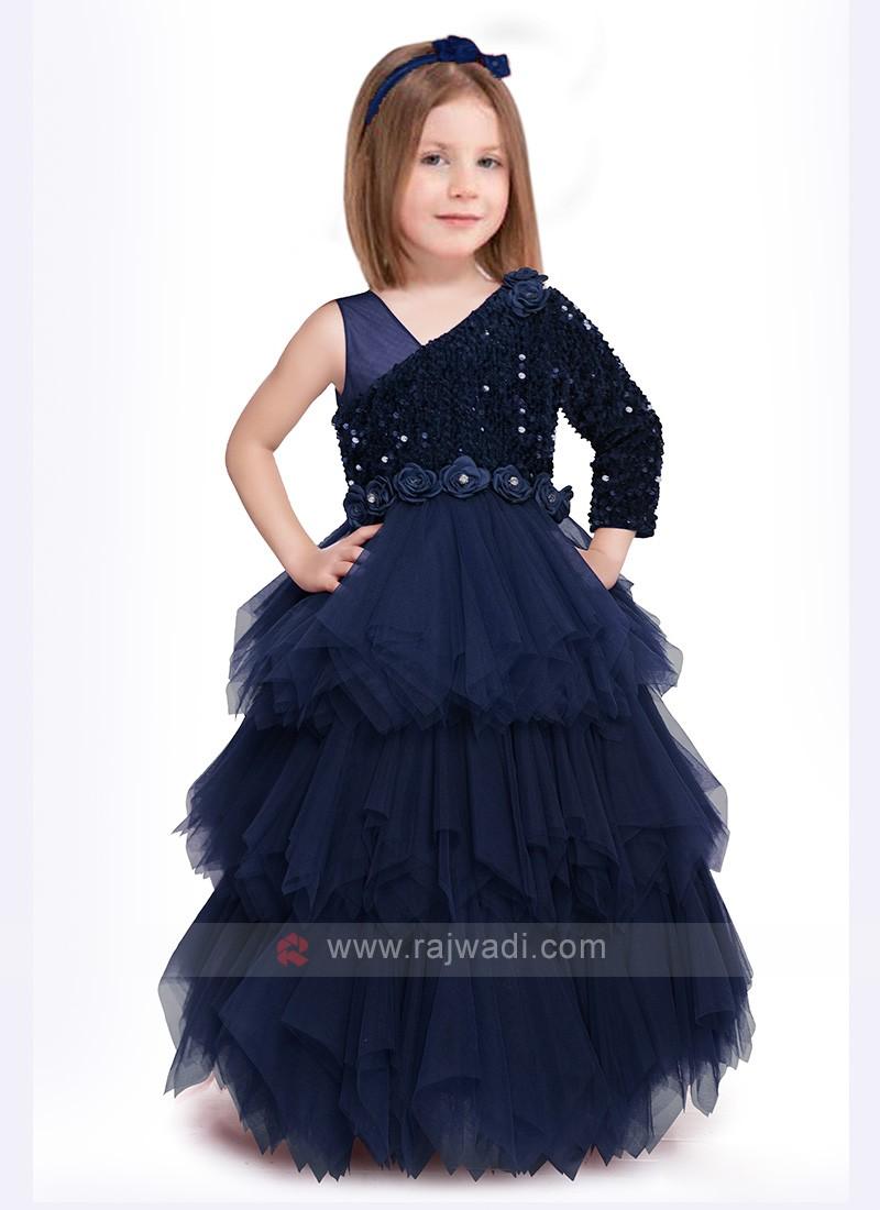 Girls Blue Net Gown