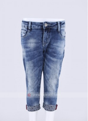 Girls Blue Solid Denim Capris