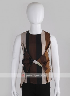 Girls Brown & Multi Coloured Top