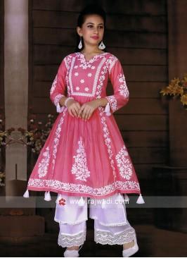 Girls Chikan Work Palazzo Suit