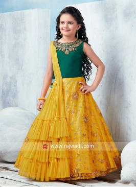 Girls Choli Suit with Attached Dupatta