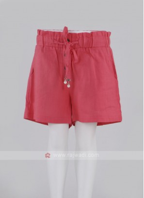 Girls Coral Color Cotton Shorts