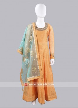 Girls Cotton Silk Anarkali Dress