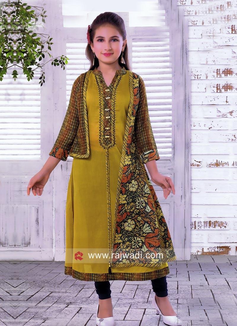 Girls Cotton Silk Printed Anarkali with Fancy Koti