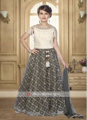 Girls cream and grey color lehenga choli